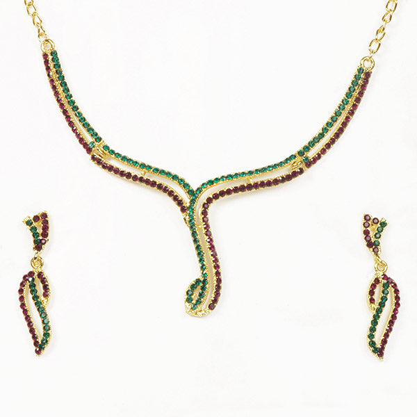 Kriaa Gold Plated Maroon Green Austrian Stone Necklace Set