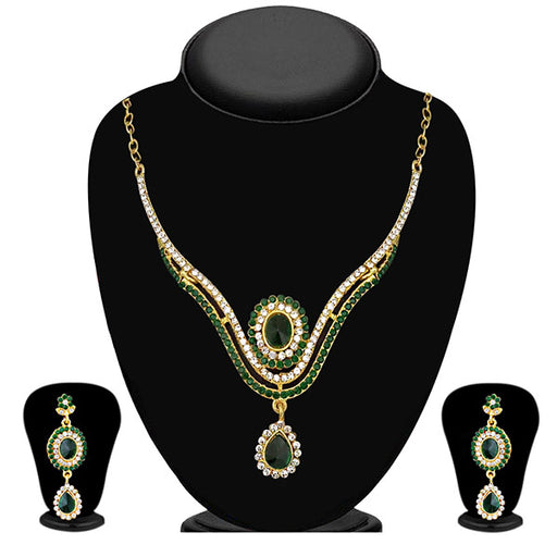 The99Jewel Green Stone Drop Gold Plated Necklace Set - ES