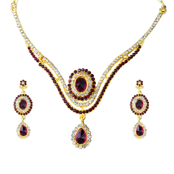 Kriaa Austrian Stone Drop Gold Plated Necklace Set