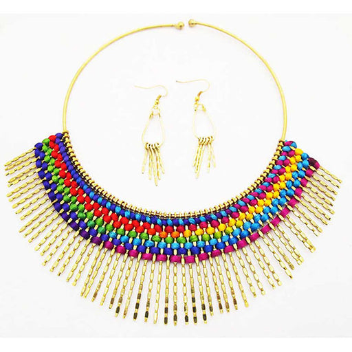 Beadside Multicolor Gold Plated  Fusion Necklace Set
