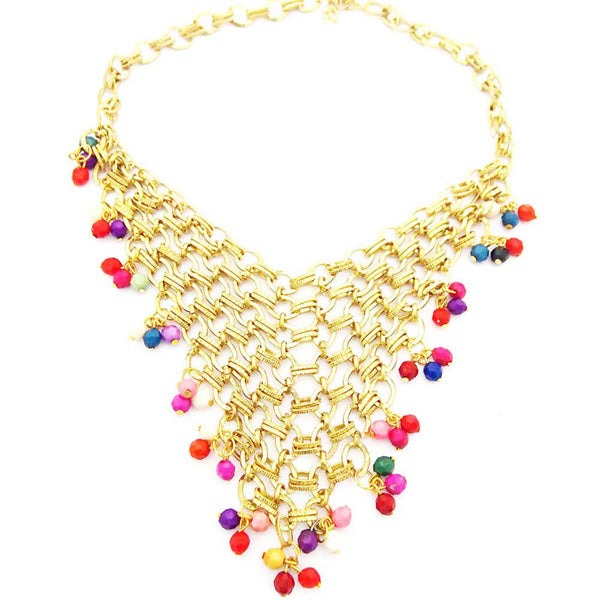 Jeweljunk Multicolor Statement Gold Plated Necklace