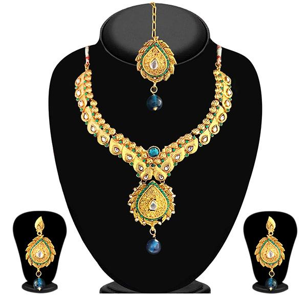 Soha Fashion Austrian Stone kundan Necklace Set With Maang Tikka