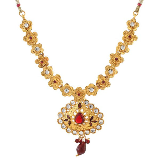 Soha Fashions White Kundan Stone Gold Plated Necklace Set
