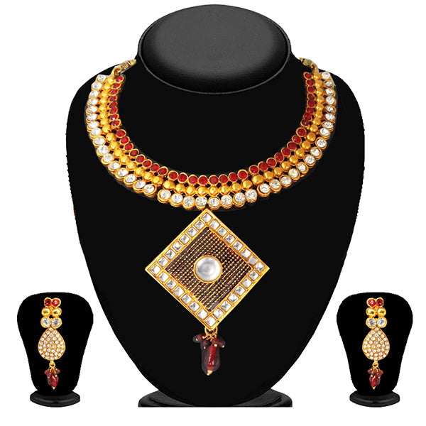 Soha Fashion Maroon Austrian Stone Gold Plated Necklace Set