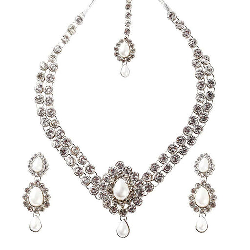 Soha Fashions White Austrian Stone Gold Plated Necklace Set