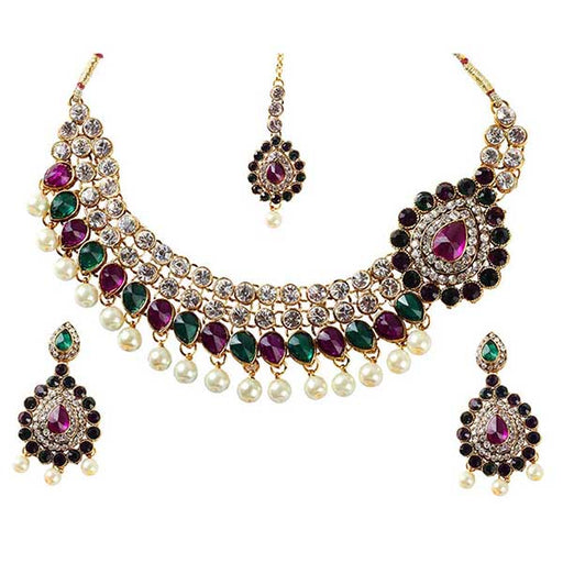 Soha Fashions Purple Austrian Stone Gold Plated Necklace Set