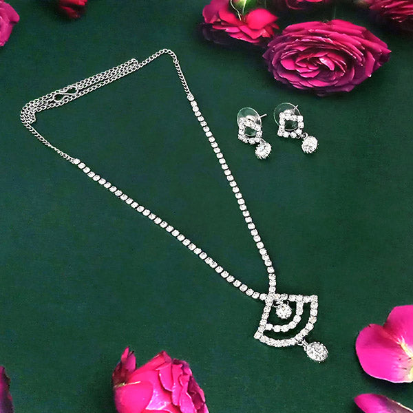Eugenia Rhodium Plated Austrian Stone Necklace Set - NB