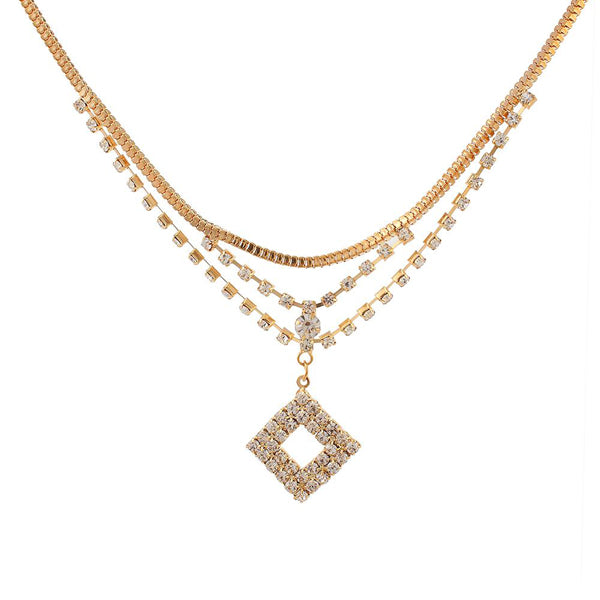 Urthn Rose Gold Plated Austrian Stone Chain Necklaces
