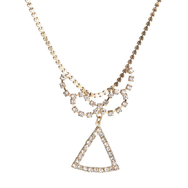 Kriaa Gold Plated White Austian Stone Necklace