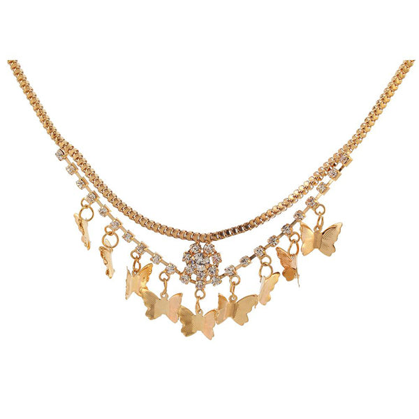 Urthn Austrian Stone Butterfly Shaped Gold Plated Necklaces