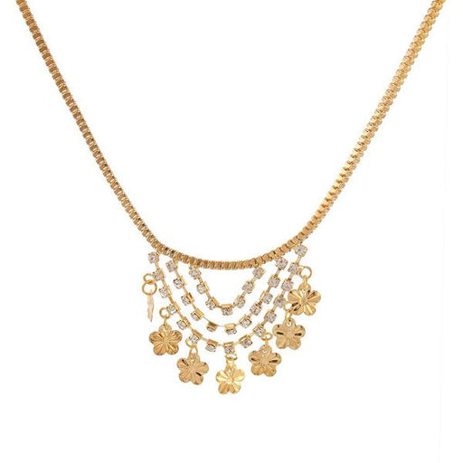Urthn Austrian Stone Floral Shaped Gold Plated Necklaces