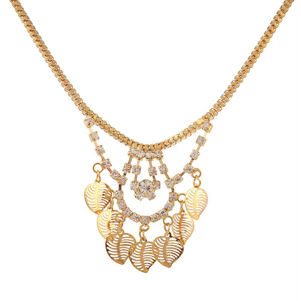 Urthn Austrian Stone Leaf Shaped Gold Plated Necklaces