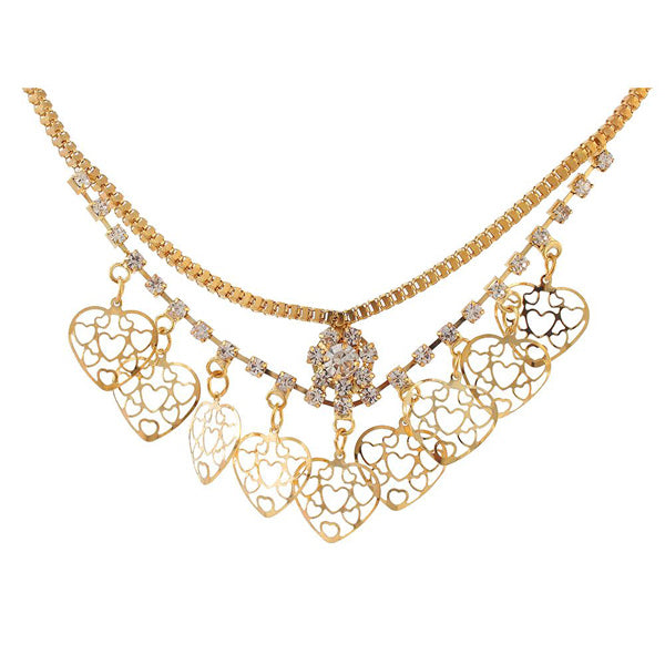 Urthn Austrian Stone Heart Shaped Gold Plated Necklaces