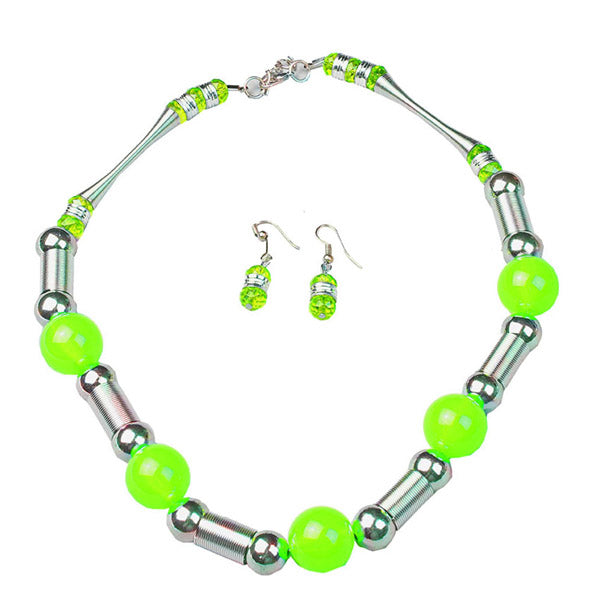 Beadside Green Beads Rhodium Plated Statement Necklace Set