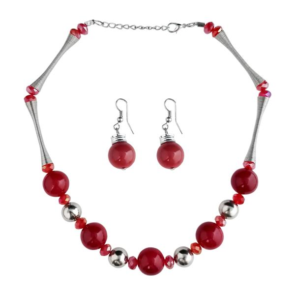 Native Haat Beads Red Rhodium Plated Necklace Set -1102517A