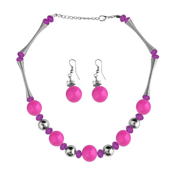 Native Haat Beads Pink Rhodium Plated Necklace Set -1102517B