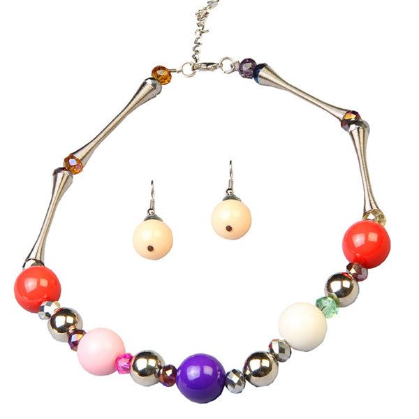 Beadside Multicolor Beads Rhodium Plated Statement Necklace Set