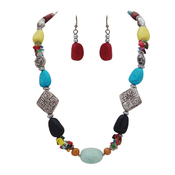 Beadside Silver Plated Multicolour Beads Statement Necklace Set