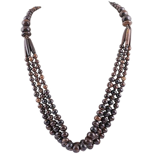 Beadside Beads Brown 3 Layer Fusion Necklace