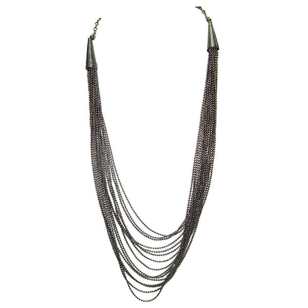 Jeweljunk Oxidised Multi Chain Statement Necklace