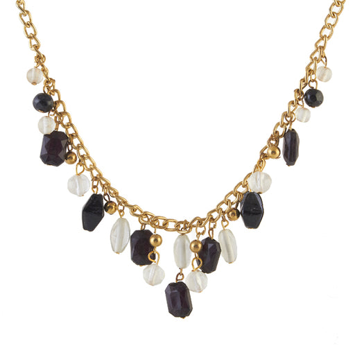 Beadside Beads Black White Gold Plated Necklace