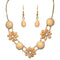Kriaa Peach Austrian Stone Floral Design Necklace Set