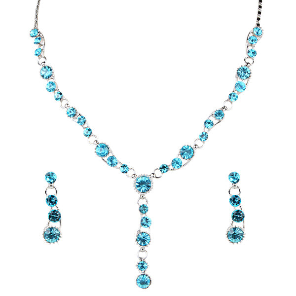 Urthn Blue Austrian Stone Rhodium Plated Necklace Set