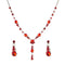 Urthn Red Austrian Stone Rhodium Plated Necklace Set