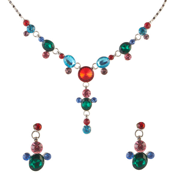 Urthn Multicolor Austrian Stone Rhodium Plated Necklace Set