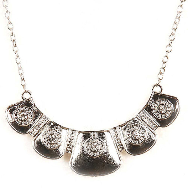 Jeweljunk Austrian Stone Silver Plated  Statement Necklace
