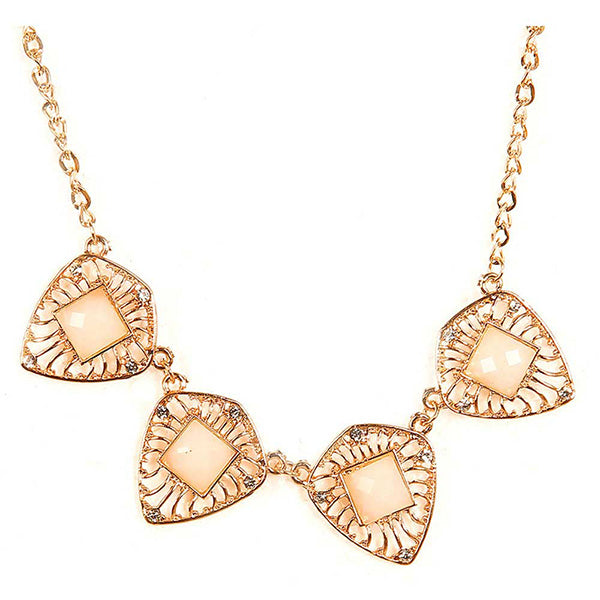 Jeweljunk Austrian Stone Fancy Gold Plated Necklace