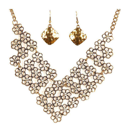 Jeweljunk Antique Gold Floral Statement Necklace Set