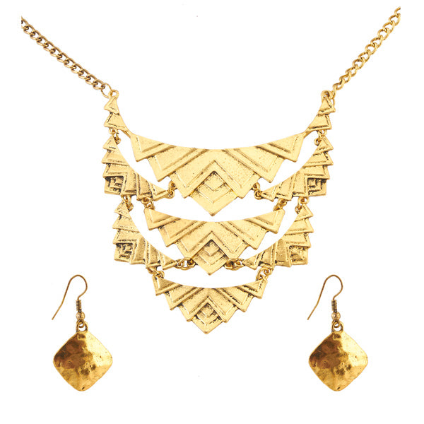 Jeweljunk Antique Gold Plated Statement Necklace Set