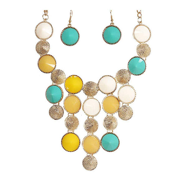 Beadside Yellow Resin Stone Statement Necklace Set