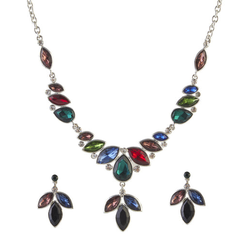 Urthn Silver Plated Multicolour Austrian Stone Necklace Set