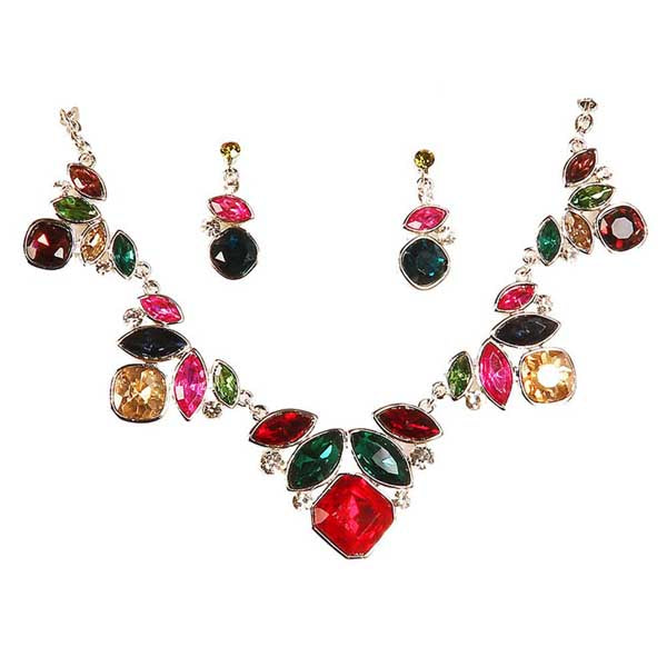 Urthn Multicolor Stone Gold Plated Necklace Set