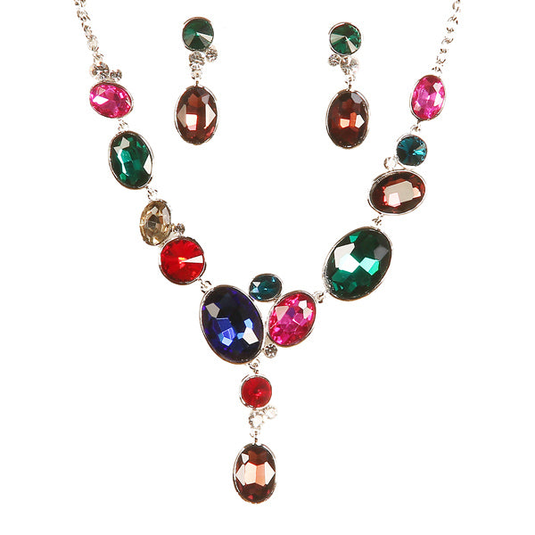 Urthn Gold Plated Multicolour Austrian Stone Necklace Set