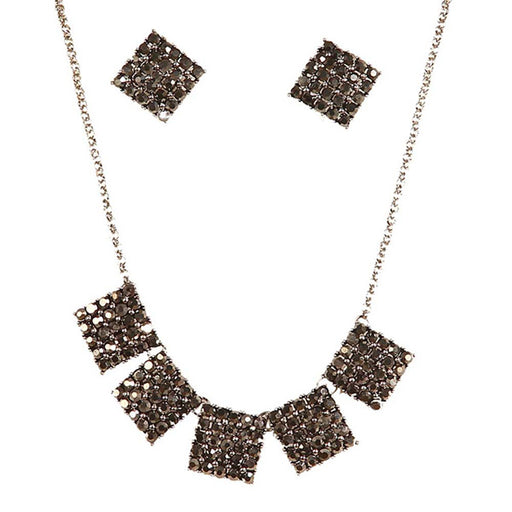 Jeweljunk Austrian Stone Black Oxidised Statement Necklace Set