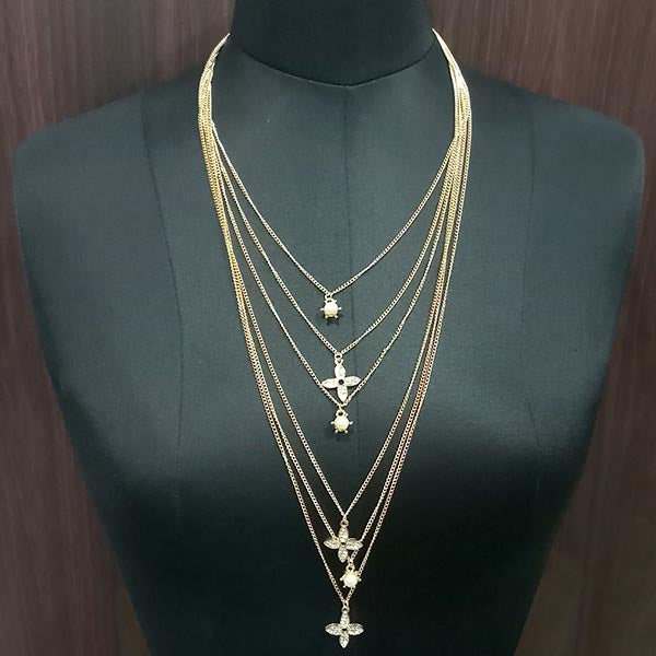 Jeweljunk Austrian Stone Gold Plated Chain Statement Necklace