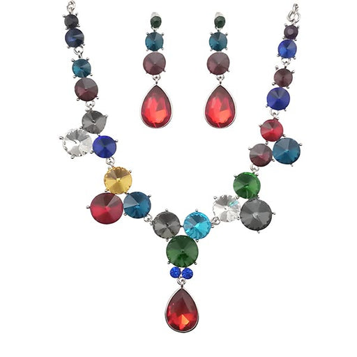Kriaa Multicolor Crystal Stone Necklace Set