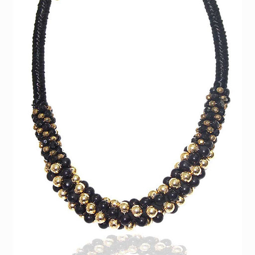 Beadside  Gold & Black Beads Fusion Necklace
