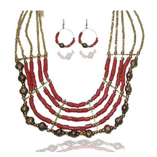 Beadside Pink Beads Gold Plated Necklace Set