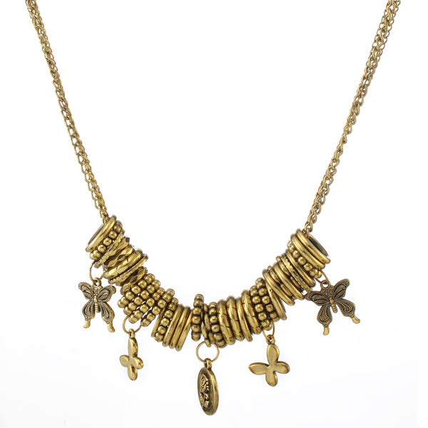 Jeweljunk Antique Gold Plated Statement Necklace