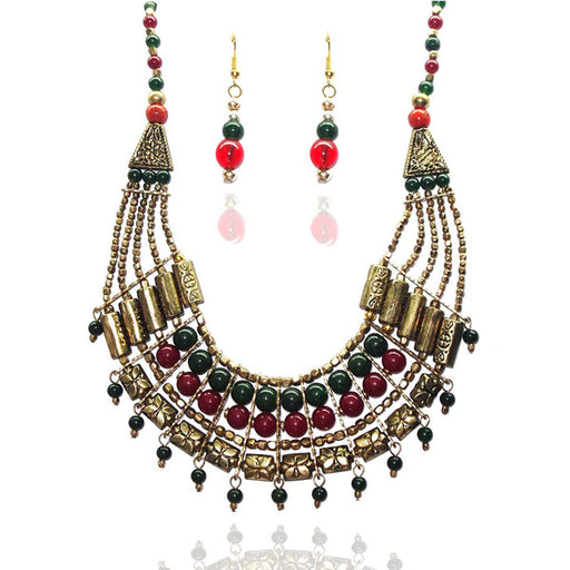 Beadside Antique Gold Plated Multicolour Beads Statement Necklace Set