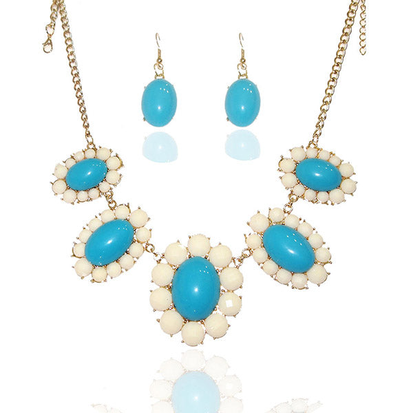 Beadside Gold Plated  Blue Stone Statement Necklace Set