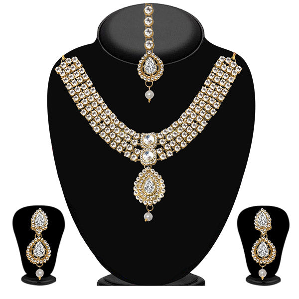 Vivant Charms Stone Pearl Necklace Set With Maang Tikka