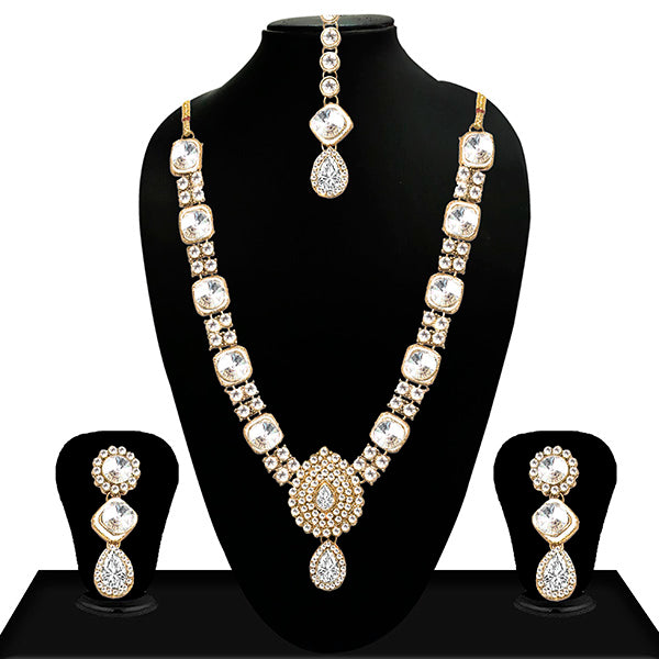 Vivant Charms Gold Plated Crystal Stone Necklace Set