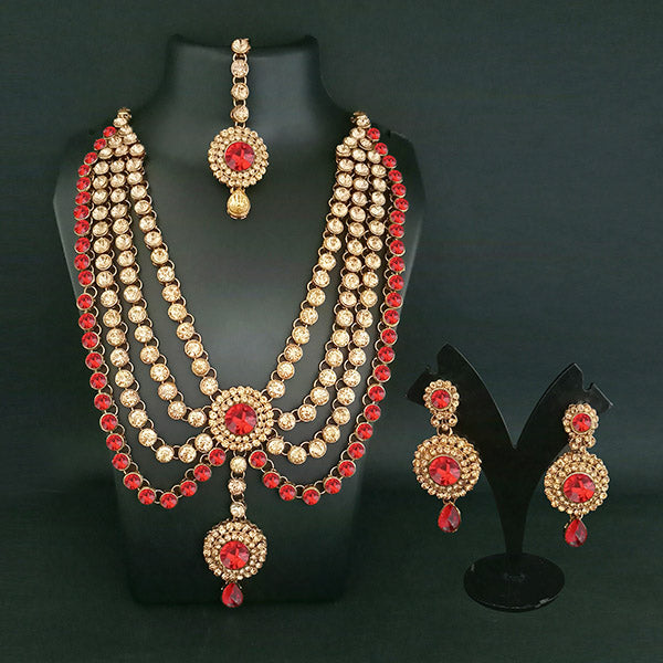 Vivant Charms Crystal Stone Necklace Set With Maang Tikka