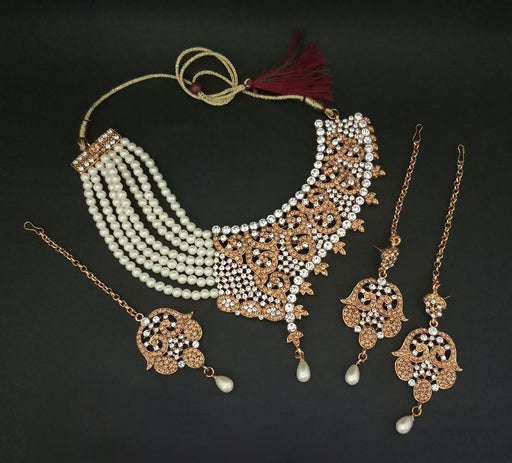 Kriaa Austrian Stone Pearl Gold Plated Necklace Set With Maang Tikka