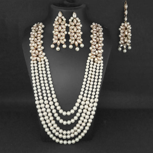Vivant Charms Pearl Austrian Stone Necklace Set With Maang Tikka